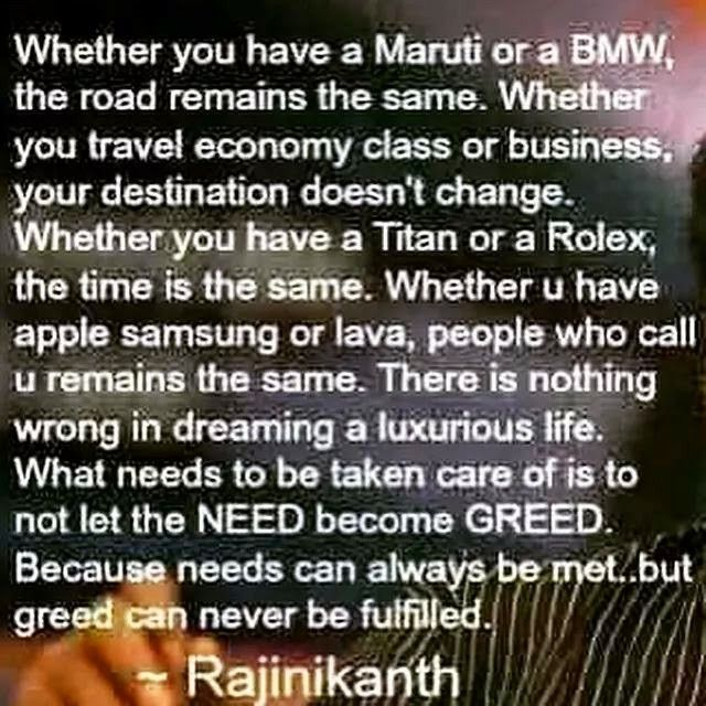 Dont let need become greed