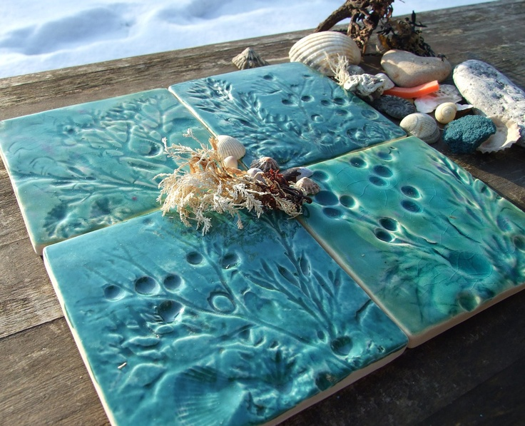 4 Ceramic coasters, shells, seaweed and fossils from Lyme Regis on the Jurassic coast, green and turquoise crackle glaze £32