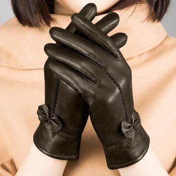 Women Ladies Genuine Lambskin Sheepskin Leather Gloves Driving Velvet Lining Windproof Mittens at Banggood