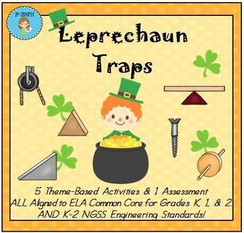 NGSS & Common Core Aligned Themed Activities to teach K-2 Engineering Standards in a fun way!  Engage students as they learn about Simple Machines and design their own Leprechaun Trap!  Science/Engineering/ELA/Kindergarten/First Grade/Second Grade