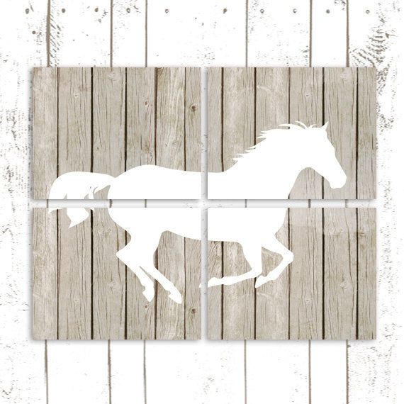 Horse Art Prints, Printable Art on Wood Background, Instant Download, Horse Nursery, Pony Prints
