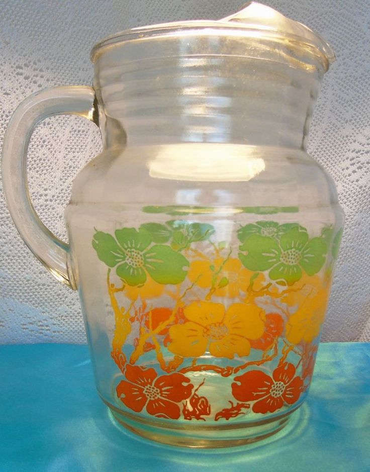 Large Gallon Vintage Retro Floral Print Pitcher / Beautiful Summer Pitcher
