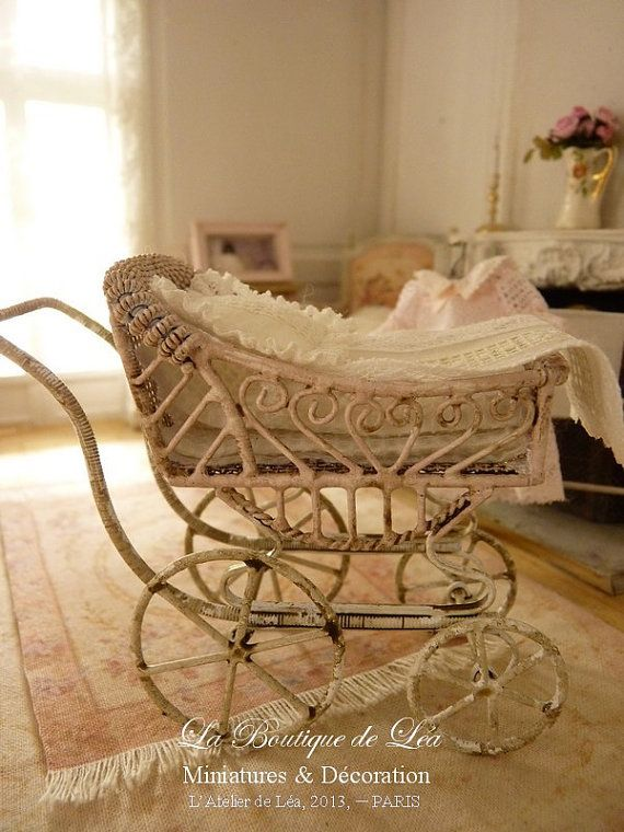 Pink pram, sweet nursery - French lace - Accessory for a French dollhouse 1:12th scale on Etsy, $40.49