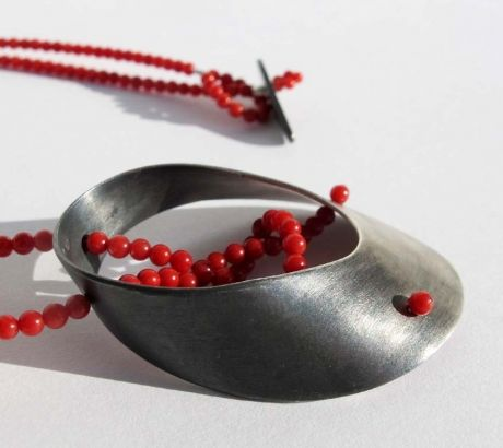 Baroque necklace with red coral, silver, by Vero Lazar,  Design jewelry, art jewelry, contemporary jewelry, elegant simplicity, minimal, red and black necklace, oxidized silver