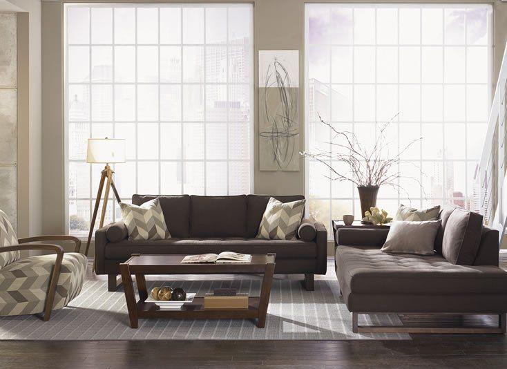 Bennett Living Room - Our modern interpretation of mid-century design evokes a fun, retro feel with soft, tweed-like fabric.  The clean lines of our Bennett sofa, along with the natural beauty of walnut wood brings a warm atmosphere to any room. (Available in our Showroom!)
