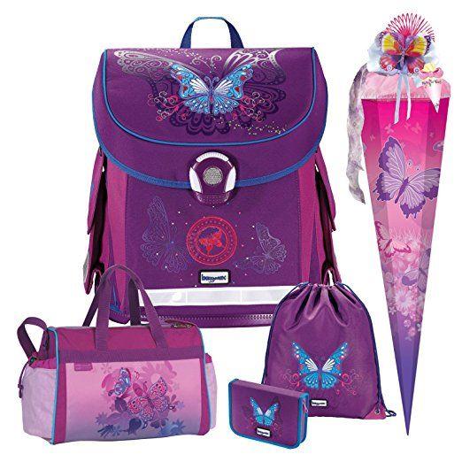 Butterfly Schmetterling Leicht-Schulranzen Set Baggymax CANNY Hama 5tlg. mit SCHULSPORTTASCHE und SCHULTÜTE, Zuckertüte, Einschulung