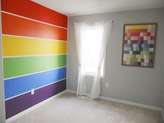Love the rainbow wall for my son's room - and the artwork can be made from paint chips that are then framed