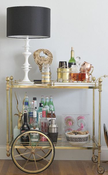 B@H 2015 Fall Home Tour: autumn stocked bar cart, copper mugs
