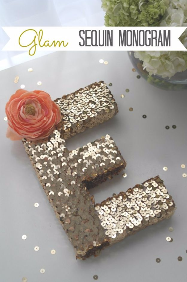 DIY Wall Letters and Initals Wall Art - Glam Sequin Monogram - Cool Architectural Letter Projects for Living Room Decor, Bedroom Ideas. Girl or Boy Nursery. Paint, Glitter, String Art, Easy Cardboard and Rustic Wooden Ideas http://diyprojectsforteens.com/diy-projects-with-letters-wall