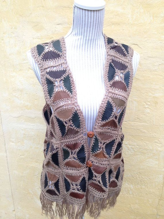 HIPPIE 60s 70s Leather and Crochet Rustic by TheDanishVintage