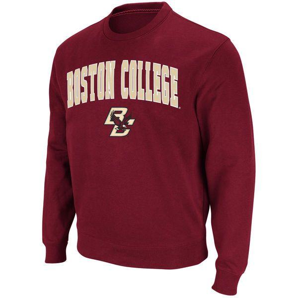Boston College Eagles Stadium Athletic Arch & Logo Crew Pullover Sweatshirt - Maroon - $24.99
