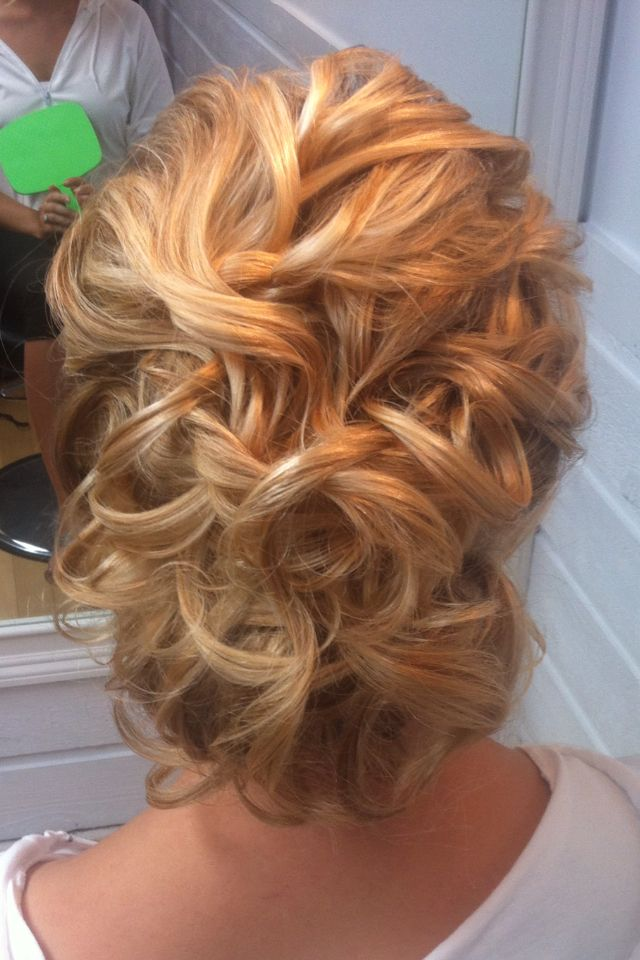 Messy curly updo I did recently on a bride- Rachel Rozanski of Brushworx on Location Hair and Makeup-Atlanta