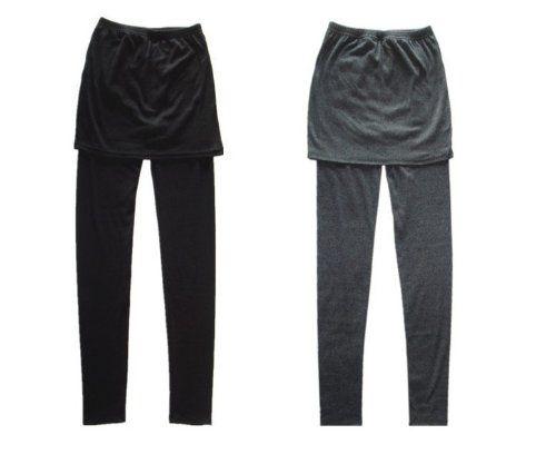Aolevia Elegant Legging Femme En Coton Pantalon Moulant + Une Faux Jupe Parfait Pour Automne et Hiver (Noir): Amazon.fr: Vêtements et accessoires