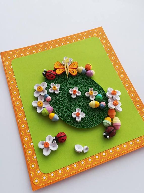 My First Easter Quilling Paper Cards with White Flowers Big