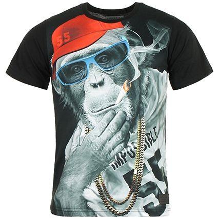 Tee Shirt Celebry Tees Monkey Chain Noir - LaBoutiqueOfficielle.com