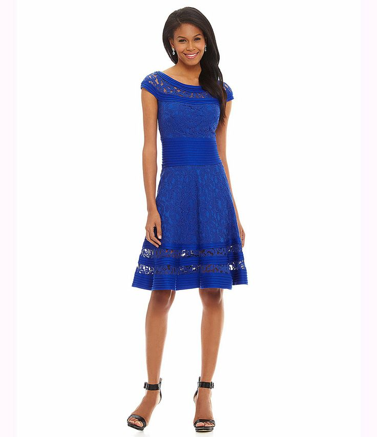 Tadashi Fit-and-Flare Illusion-Lace Dress | Dillards.com On a different model