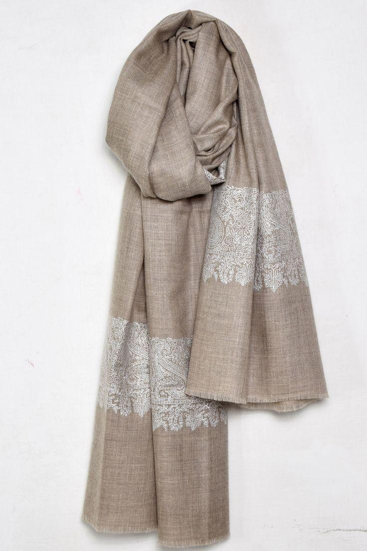 Khaki Brown Embroidered Pashmina Shawl