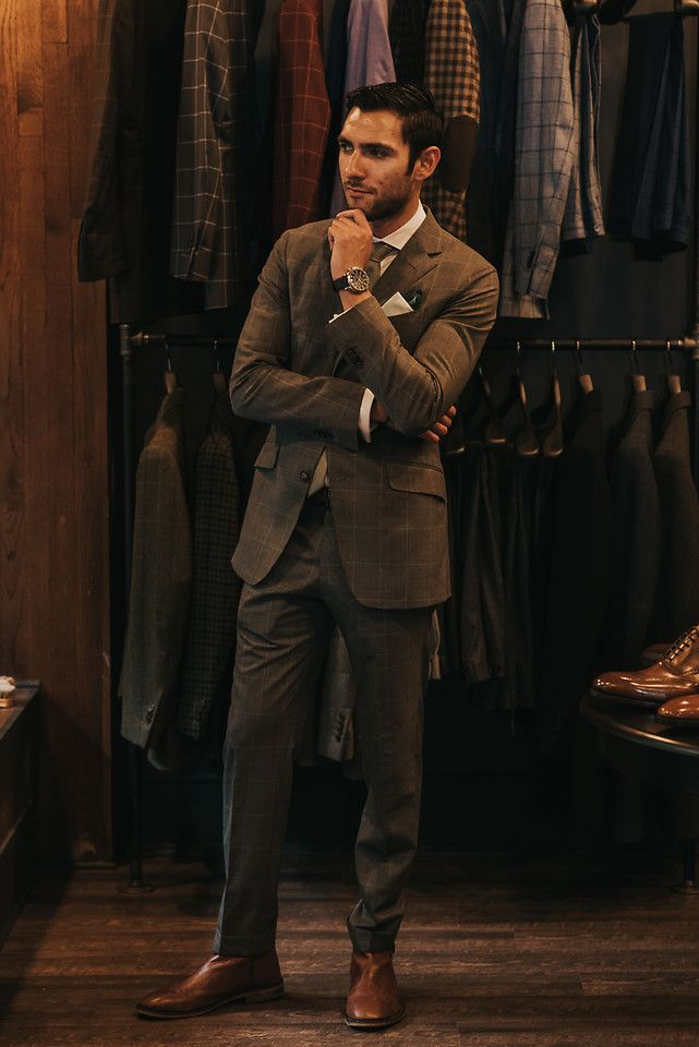 Hector Diaz - Beckett & Robb Two Piece Gray Patterned Custom Suit, Zara White Button Down, Topman Stone Textured Tie, Club Monaco Double Pocket Square (Similar), The Tie Bar, Aldo Chelsea Boots - Beckett & Robb x Seattle Gents | LOOKBOOK