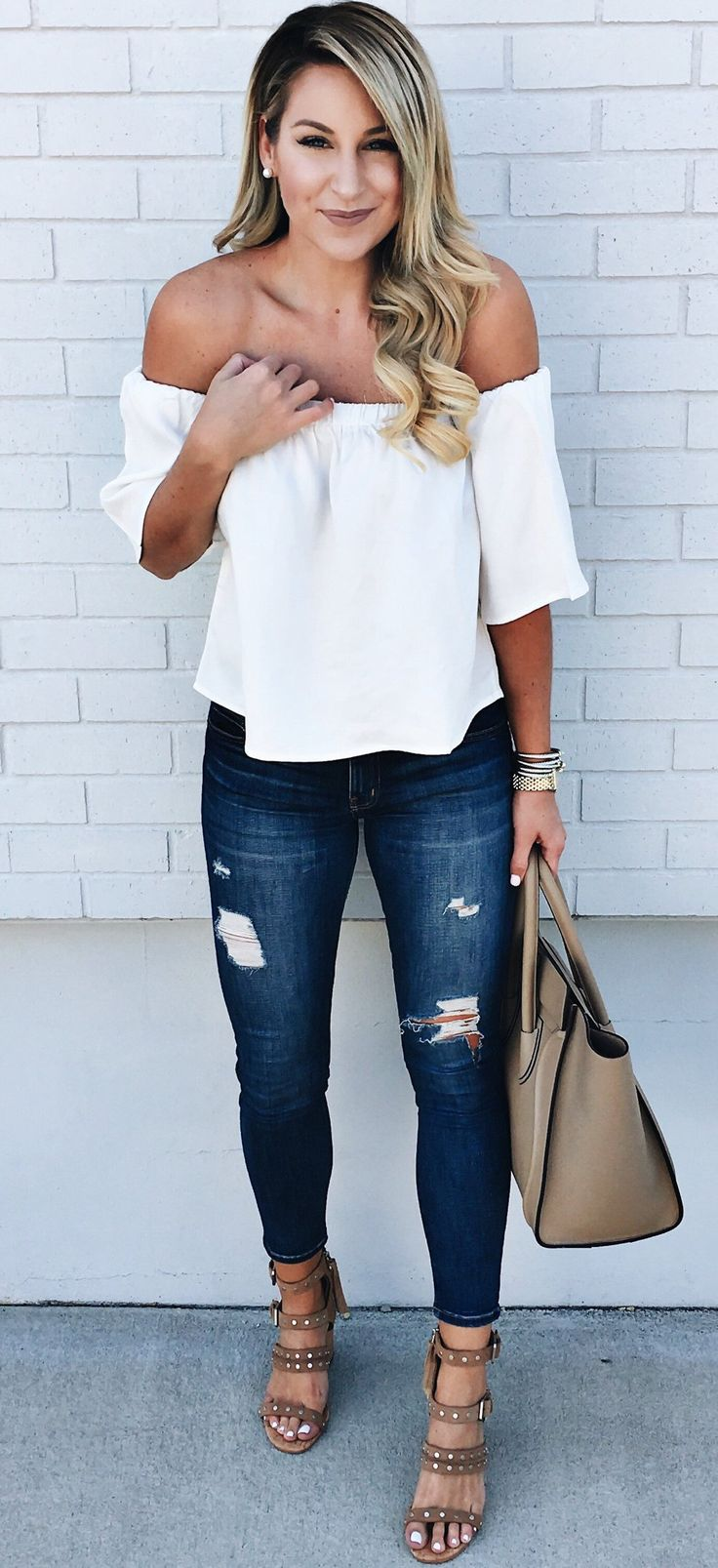 #spring #outfits White Off The Shoulder Top & Ripped Skinny Jeans & Brown Studded Sandals