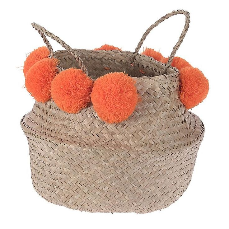 SEAGRASS BAG/BASKET IN BEIGE COLOR W/ORANGE POM POM 30X30X30/43