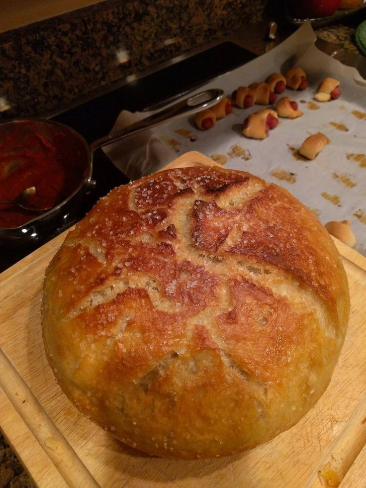 No-knead loaf I made for the Super Bowl. Brushed with olive oil and sprinkled with sea salt after it came out of the oven Found here