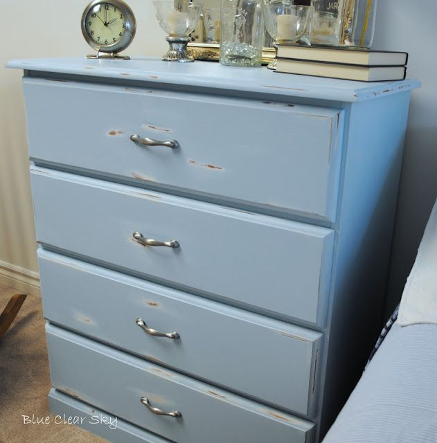 Blue Clear Sky: $13 Aegean Blue Dresser for our Basement Guest Room