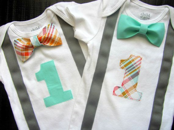 Twin Boys First Birthday Outfit - Baby Boy Clothes - Grey Suspender and Red Blue Orange Plaid Bow Tie - Birthday Number One - Twins Birthday on Etsy, $45.98