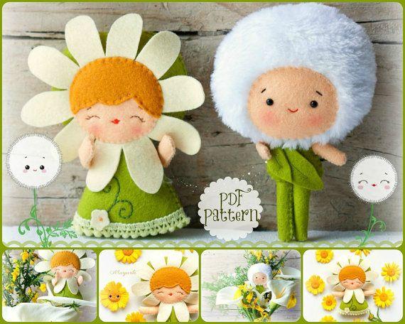PDF pattern. The daisy and the dandelion. Plush Doll Pattern, Softie Pattern, Soft felt Toy Pattern. via Etsy