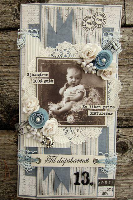 min lille scrappe-verden: Dåpskort til gutt