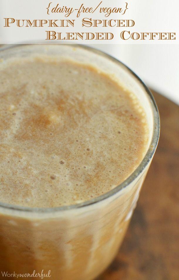 Blended Pumpkin Spice Coffee Recipe - If you enjoy Starbucks Pumpkin Spice Frappuccino, you will LOVE this dairy free, vegan version! #plantprotein