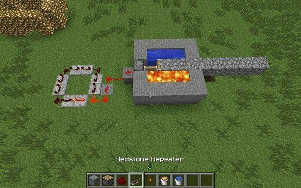Cobblestone Generator. Probably use a button instead of a Redstone block.