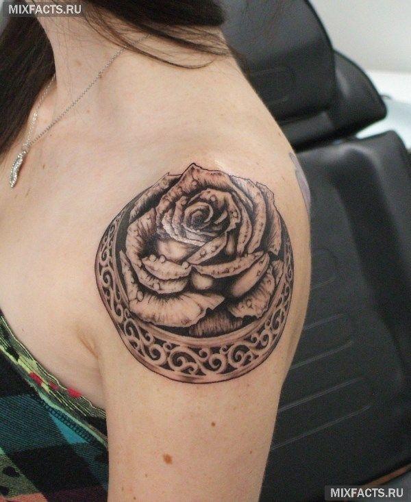 тату на плече для девушек в виде розы