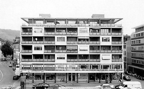 Commercial and Appartment Building (1956-60) in Biel, Switzerland, by Roland Rohn