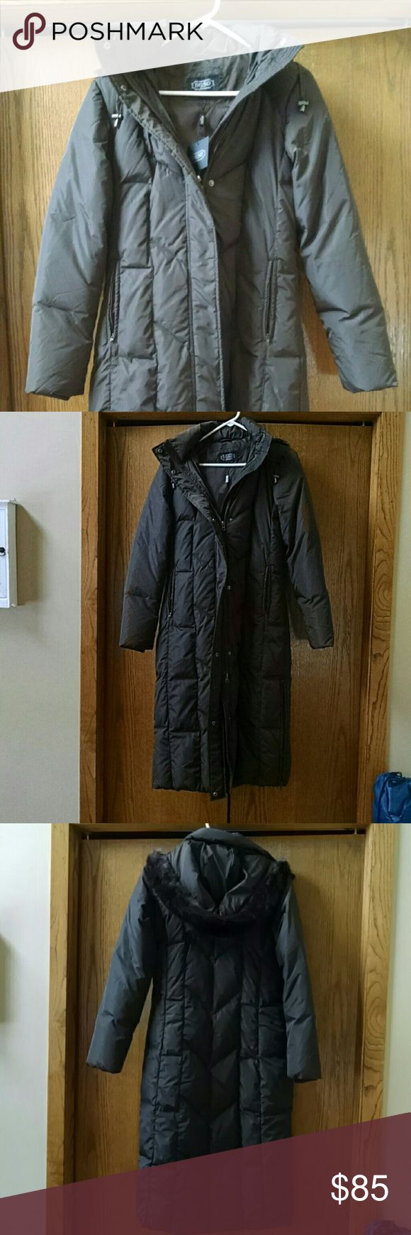 BGSD women's puffer winter coat Warm and cute brown puffer coat with faux fur hood. New with tags. Long, great for cold days while still looking cute. Has side zippers from the bottom of the coat to about the knee for better range of motion if needed. BGSD Jackets & Coats Puffers
