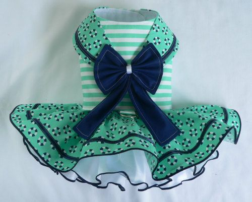 Items similar to Dog dress.Nautical Maritime Sailor jade by Poshdog. Tutu skirt. on Etsy