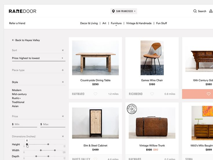 Rare Door E-Commerce Website Design   Desktop Web UI Design