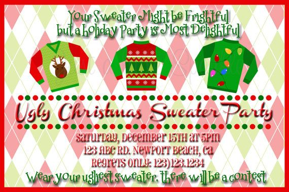 Ugly Christmas Sweater Holiday Party Invite, DIY, Personalized, Ugly Christmas Sweaters, Christmas