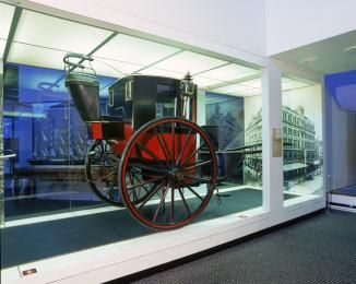 H3975 Horse-drawn vehicle, full size, hansom cab, brougham-type, and fares plate, wood / metal / leather / fabric, made in Sydney, 1880-1915, used by Mr J. Connor in Sydney until 1937 - Powerhouse Museum Collection
