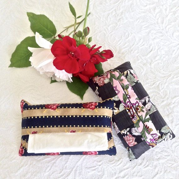 Two Small Travel Tissue Holders Tissue Cases Patchwork &