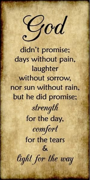 God didn't promise days without pain, laughter without sorrow, nor sun without rain, but he did promise strength for the day, comfort for the tears, and light for the way. by erica