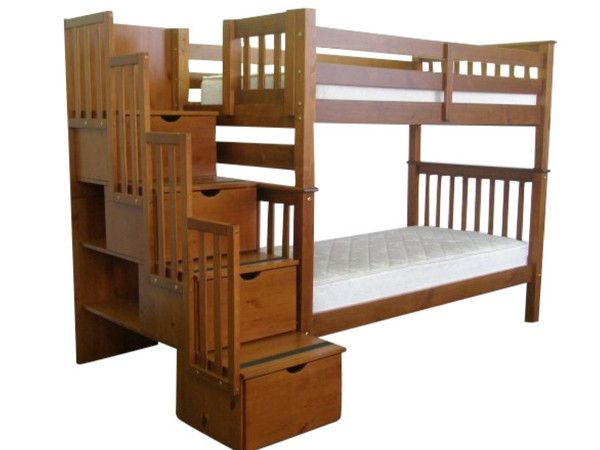 bunk bed tall twin over twin stairway expresso