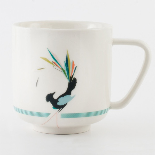 Gullfuglen (The Golden Bird) porcelain collection, multicoloured. Cup, plate, bowl and vase.