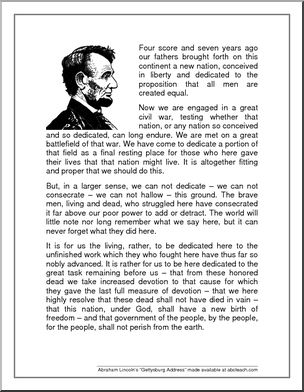"""Speech: Gettysburg Address - Abraham Lincoln's famous """"Gettysburg Address"""". Worksheets to review the speech are available on our member site."""