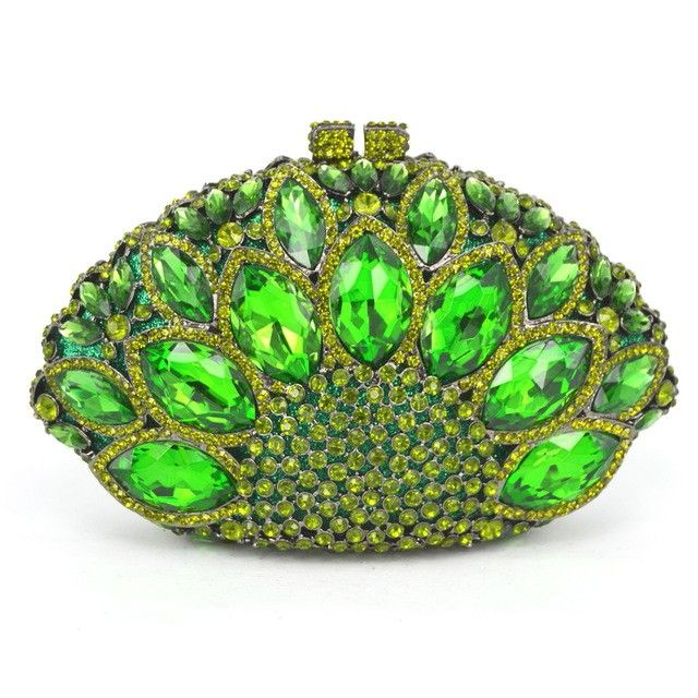 Luxury Evening Clutch Bag with Green Stones
