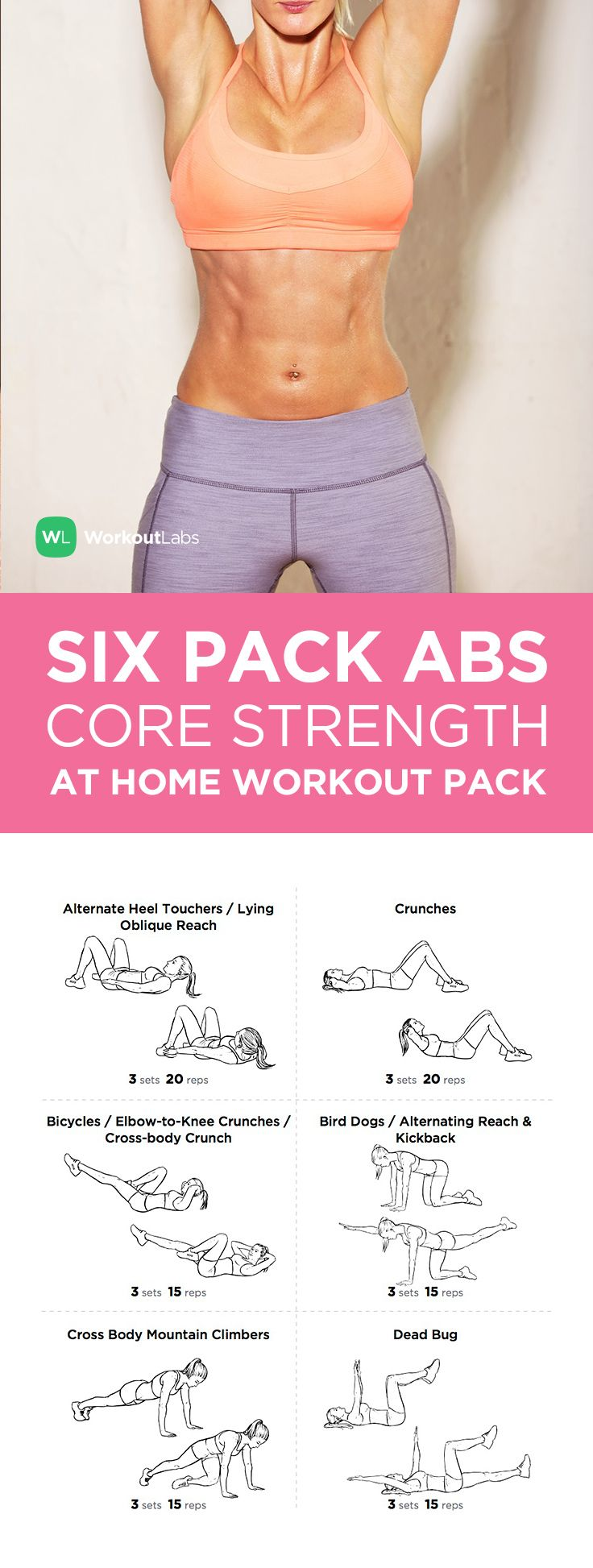 Visit https://WorkoutLabs.com/workout-packs/six-pack-abs-core-strength-at-home-workout-pack-for-men-women to download this Six Pack Abs Core Strength at Home Workout Pack for men & women
