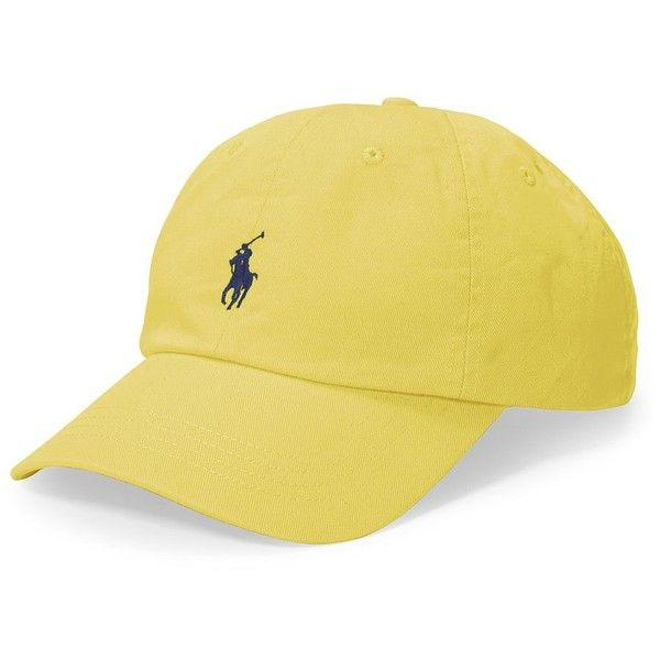 Polo Ralph Lauren Classic Chino Sports Cap ($40) ❤ liked on Polyvore featuring accessories, hats, yellow, sports cap, embroidery hats, embroidered hats, caps hats and polo ralph lauren