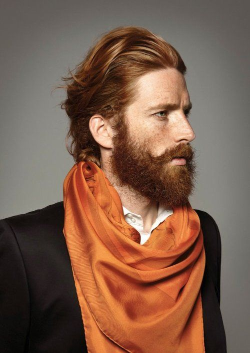 Love the Red hair, beard, mustache, freckles and man scarf.