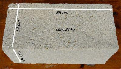 Sóskúti mészkő falazóblokk méret