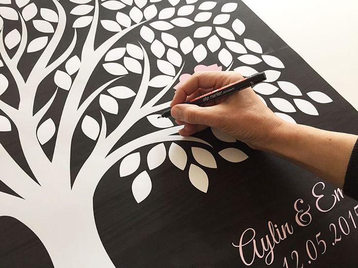 Düğün/Nikah Ağacı / Poster - Mavi-Beyaz