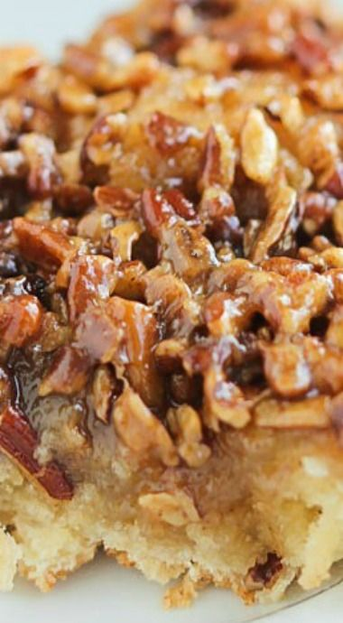 Caramel Pecan Coffee Cake With  Caramel Pecan Topping! _ is like eating a delicious slice of pecan pie for breakfast! Mix everything up in the pie dish - less mess! Caramel seeps into the coffee cake batter to bake up into a Perfect breakfast treat!